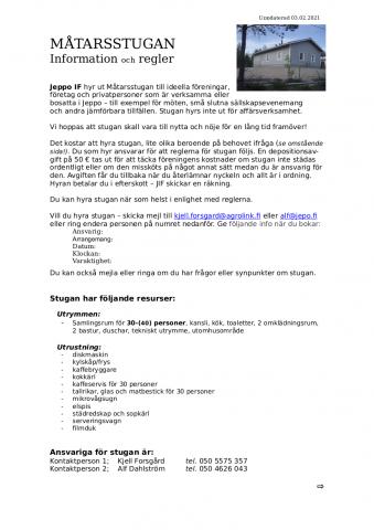 Måtarsstugan regler 2021